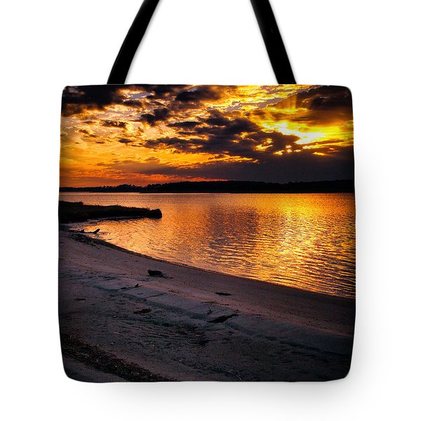 Sunset Over Little Assawoman Bay Tote Bag