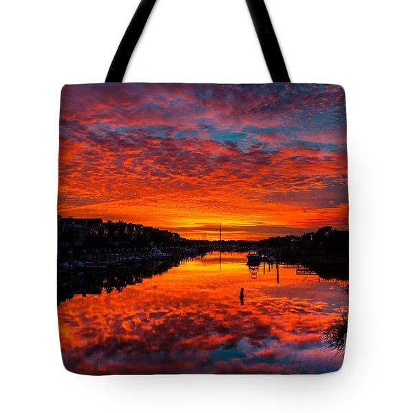 Sunset Over Morgan Creek - Wild Dunes Resort Tote Bag