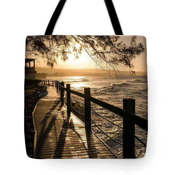 Sunset Over Ocean Walkway Tote Bag