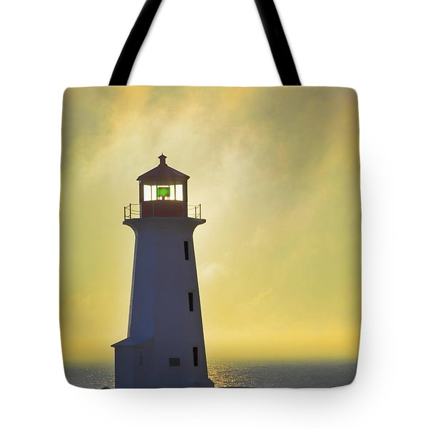 Sunset Over Peggys Cove Lighthouse Tote Bag by Thomas Kitchin & Victoria Hurst