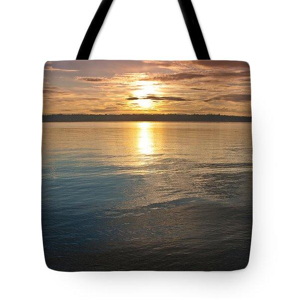 Sunset Over Puget Sound Tote Bag