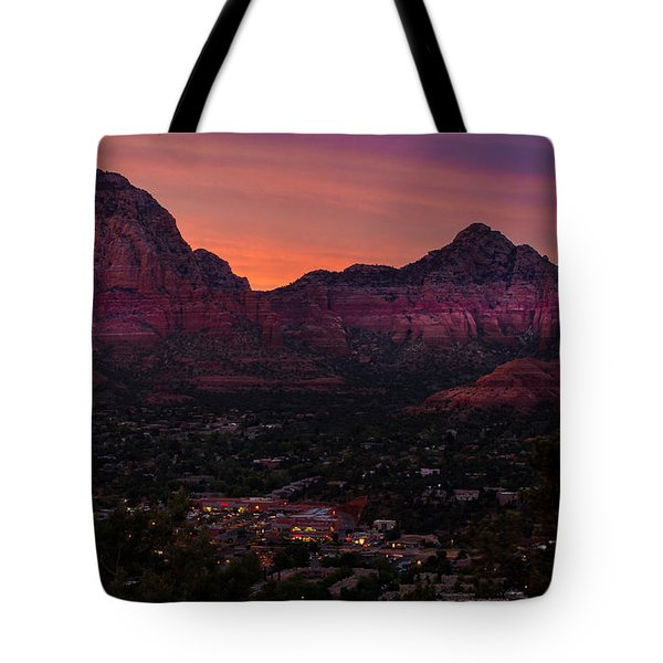 Sunset Over Sedona Az Tote Bag by Tim Bryan
