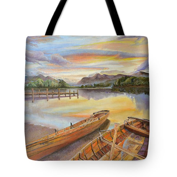Tote Bag featuring the painting Sunset Over Serenity Lake by Mary Ellen Anderson