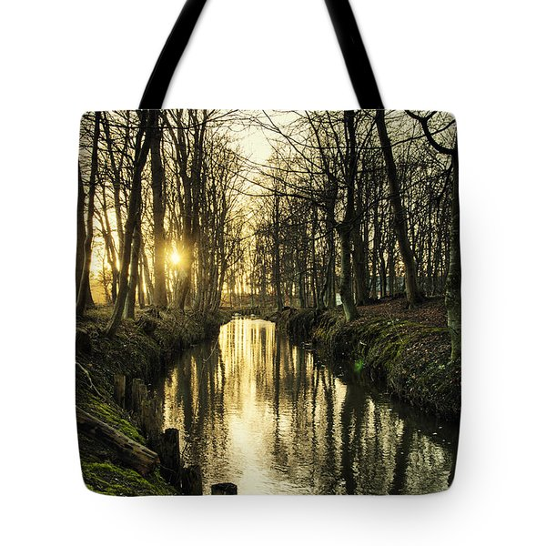 Sunset Over Stream Tote Bag