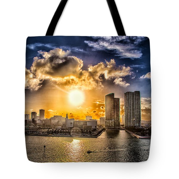 Sunset Over The Arena Hdr Tote Bag