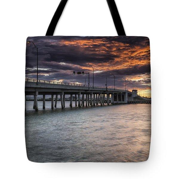 Sunset Over The Drawbridge Tote Bag