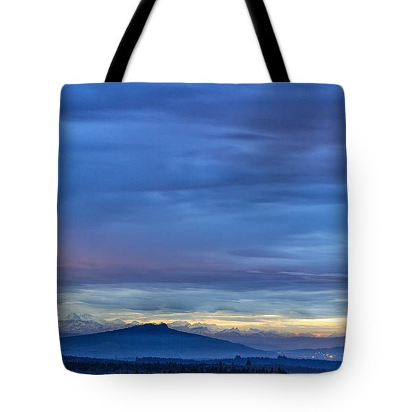 Sunset Over The European Alps Tote Bag by Bernd Laeschke