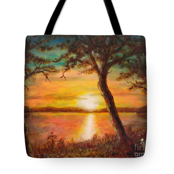Sunset Over The Lake Tote Bag by Martin Capek