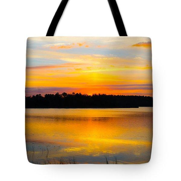 Sunset Over The Lake Tote Bag