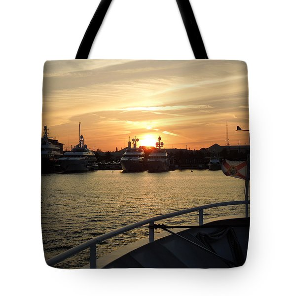 Tote Bag featuring the photograph Sunset Over The Marina by Ron Davidson
