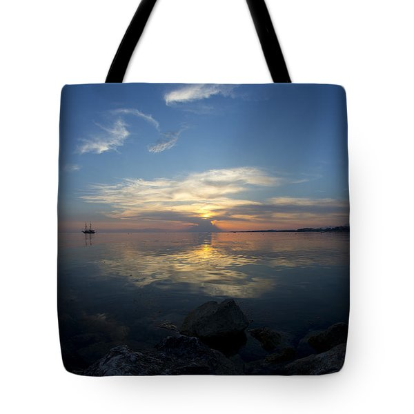 Sunset Over The Mediterranean Sea Tote Bag