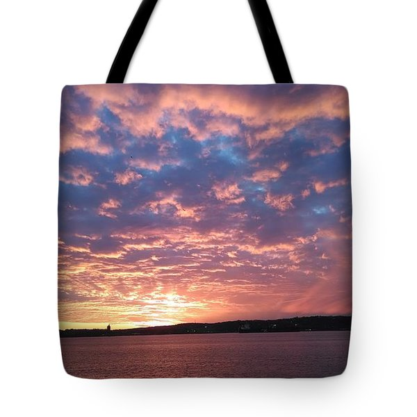 Sunset Over The Narrows Waterway Tote Bag by John Telfer