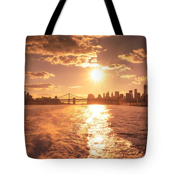 Sunset Over The New York City Skyline Tote Bag by Vivienne Gucwa
