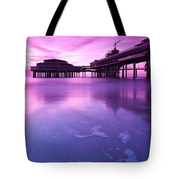 Tote Bag featuring the photograph Sunset Over The Pier by Mihai Andritoiu