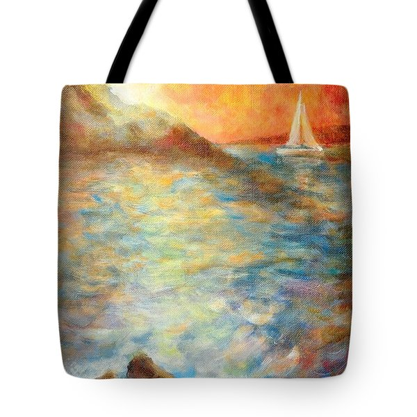 Sunset Over The Sea. Tote Bag
