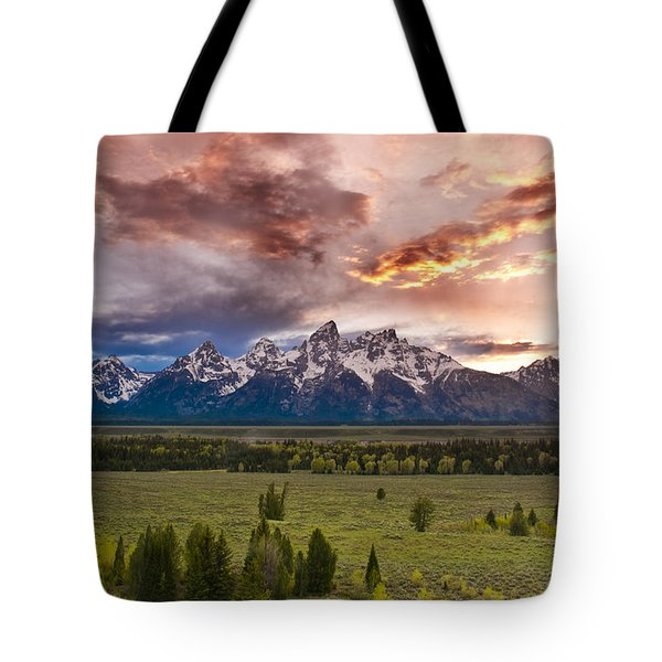Sunset Over The Tetons  Tote Bag