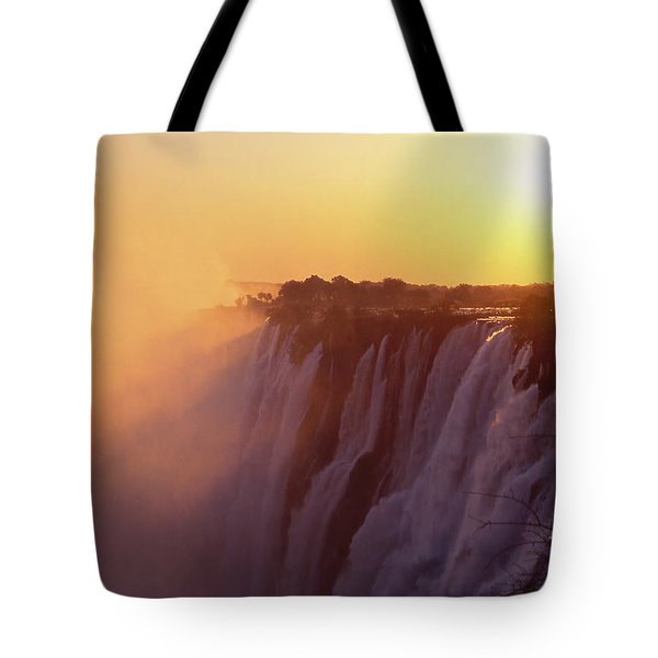 Sunset Over The Victoria Falls Tote Bag by Alex Cassels
