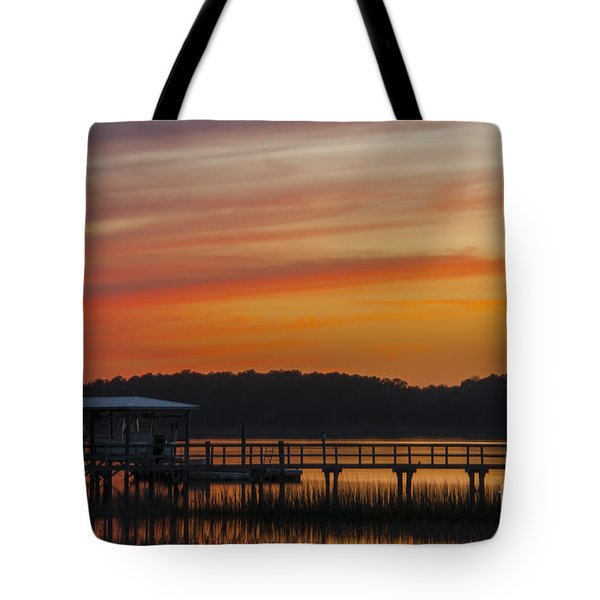 Sunset Over The Wando River Tote Bag by Dale Powell