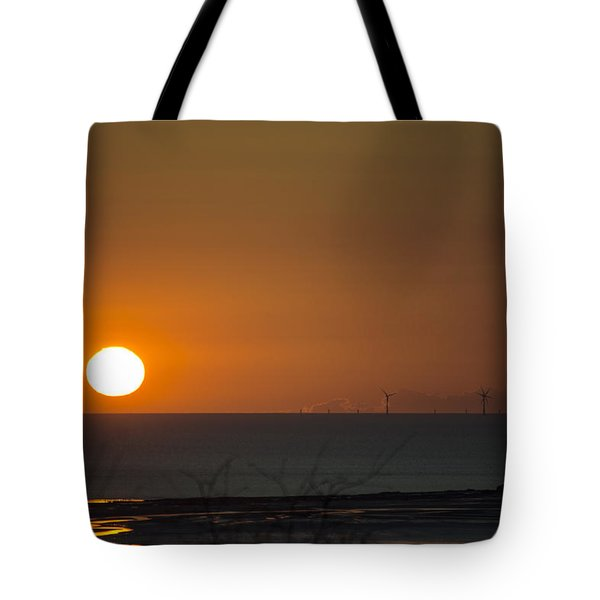 Sunset Over The Windfarm Tote Bag