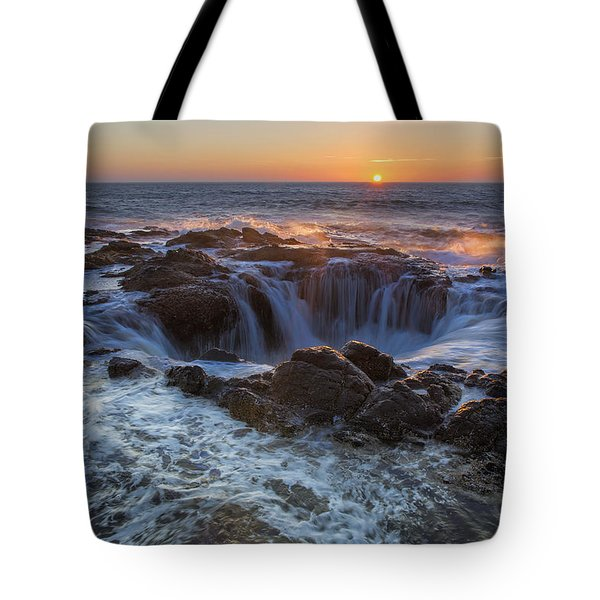 Sunset Over Thor's Well Along Oregon Coast Tote Bag