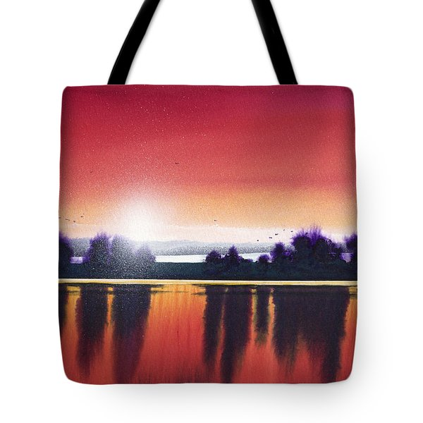 Sunset Over Two Lakes Tote Bag