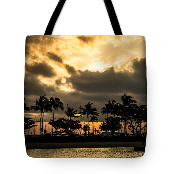 Sunset Over Waikiki Tote Bag