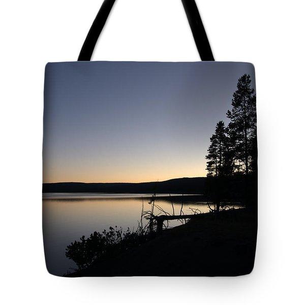 Sunset Over Yellowstone Lake Tote Bag