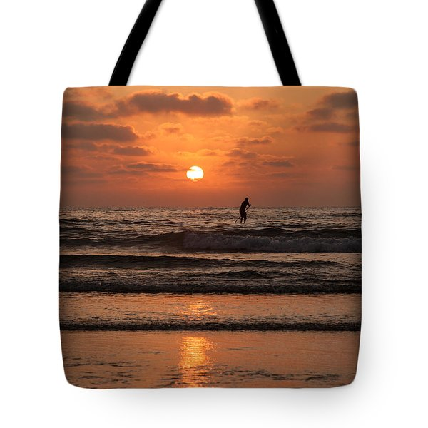 Tote Bag featuring the photograph Sunset Paddle by Sonny Marcyan