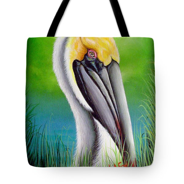 Sunset Pelican Tote Bag
