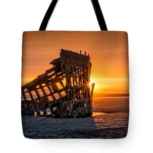 Sunset Peter Iredale Tote Bag by James Hammond
