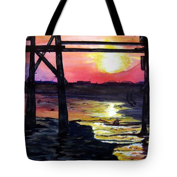 Sunset Pier Tote Bag by Lil Taylor