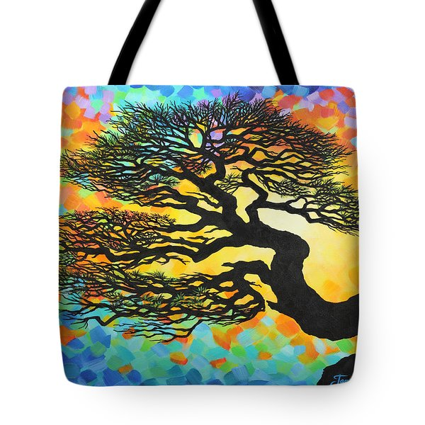 Tote Bag featuring the painting Sunset Pine by Jane Girardot