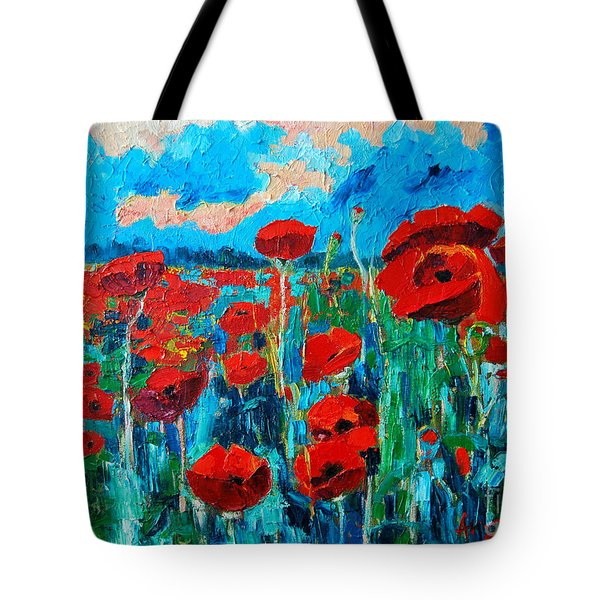 Tote Bag featuring the painting Sunset Poppies by Ana Maria Edulescu