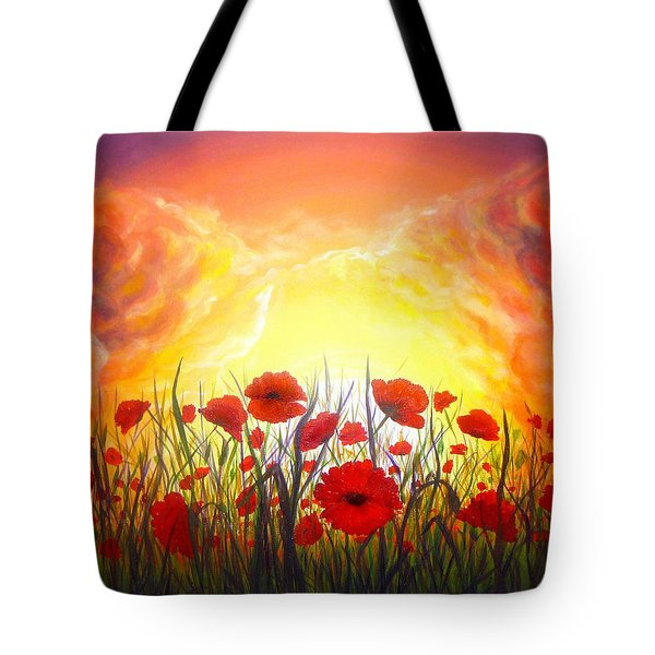 Tote Bag featuring the painting Sunset Poppies by Lilia D