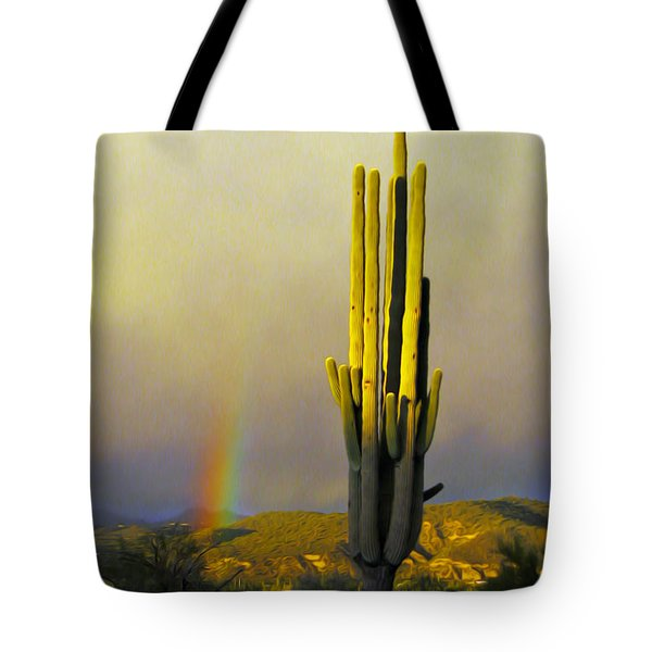 Tote Bag featuring the photograph Sunset Rainbow Cactus by John Haldane