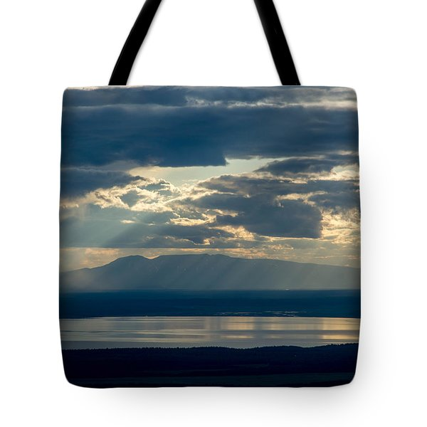 Sunset Rays Over Mount Susitna Tote Bag