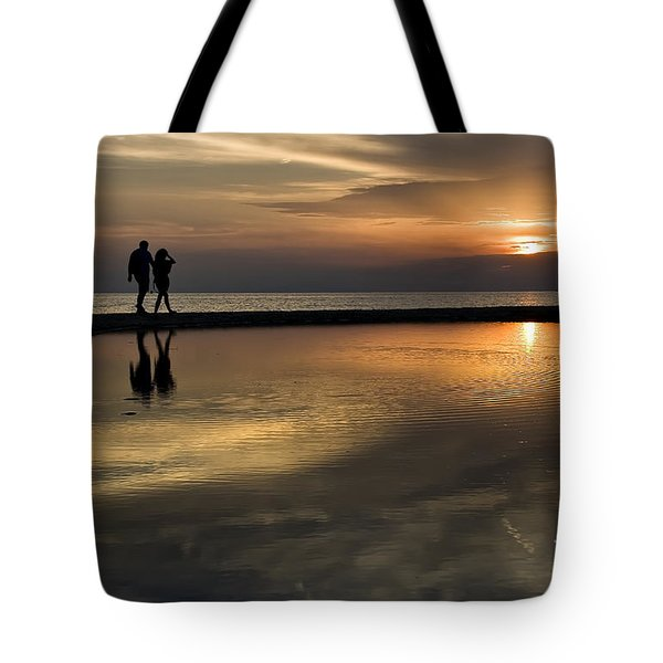Sunset Reflection And Silhouettes Tote Bag