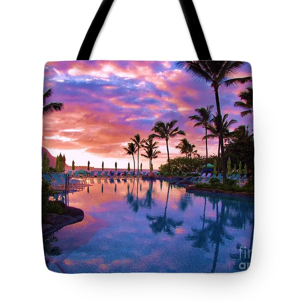 Sunset Reflection St Regis Pool Tote Bag by Michele Penner