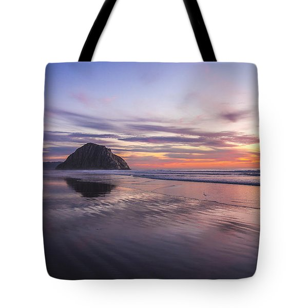 Sunset Reflections At Morro Bay Beach Rock Fine Art Photography Print Tote Bag by Jerry Cowart