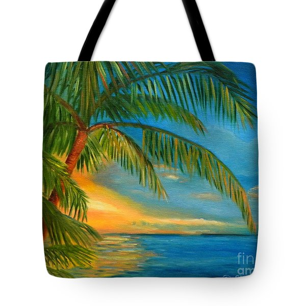 Sunset Reflections - Key West Sunset And Palm Trees Tote Bag