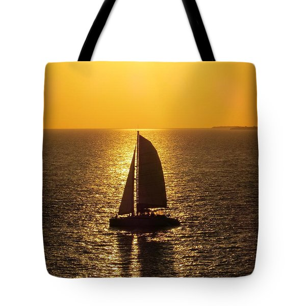 Tote Bag featuring the photograph Sunset Sail by Jennifer Wheatley Wolf