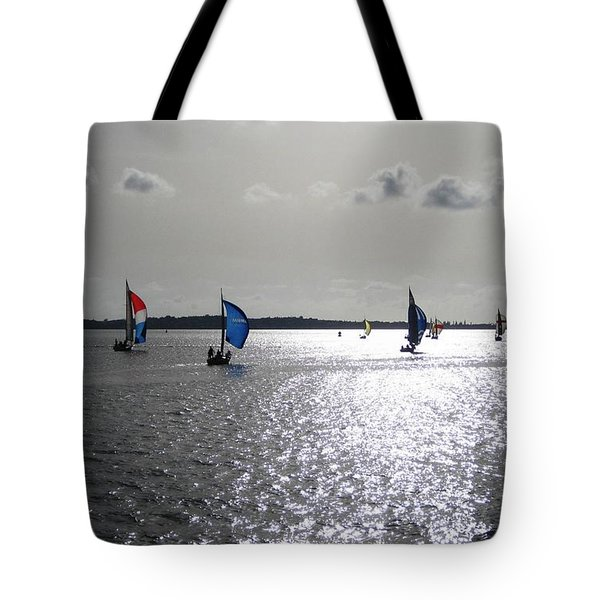 Tote Bag featuring the photograph Sunset Sail by Judy Palkimas