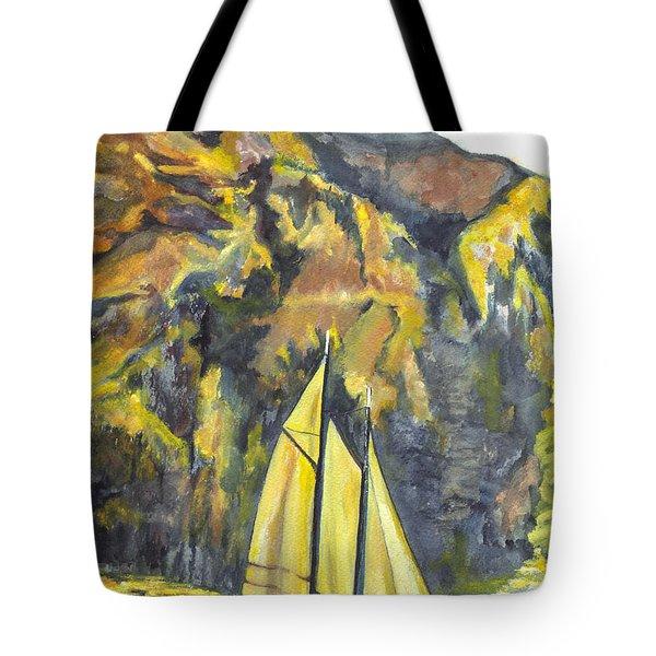 Sunset Sail On Lake Garda Italy Tote Bag by Carol Wisniewski