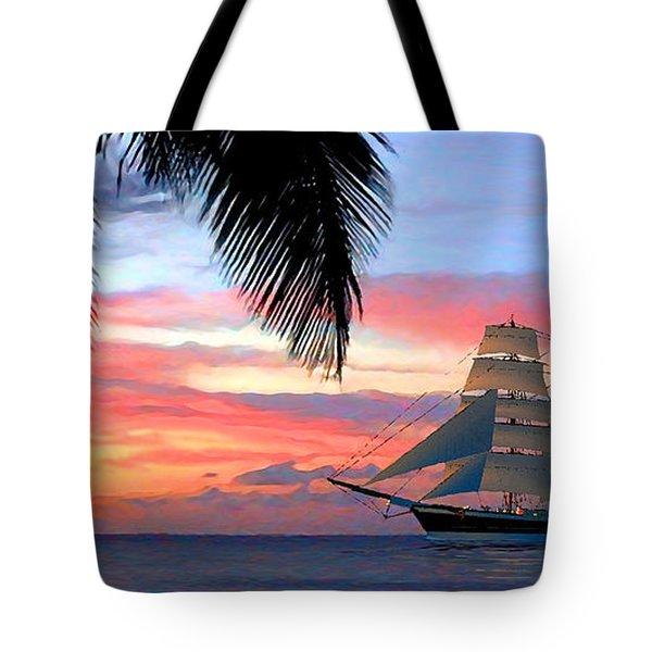 Sunset Sailboat Filtered Tote Bag