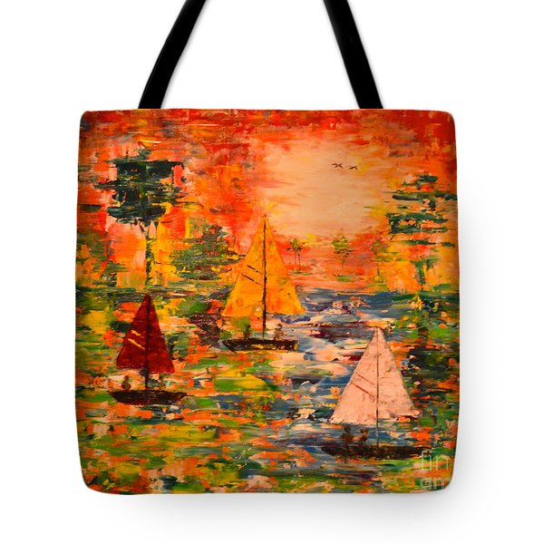 Tote Bag featuring the painting Sunset Sailing by Denise Tomasura