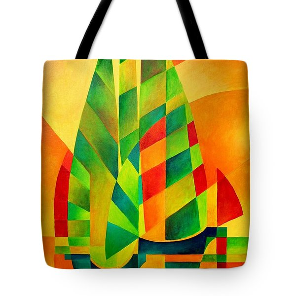 Tote Bag featuring the painting Sunset Sails And Shadows by Tracey Harrington-Simpson