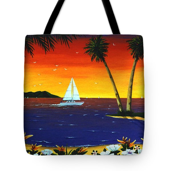 Sunset Sails Tote Bag by Lance Headlee