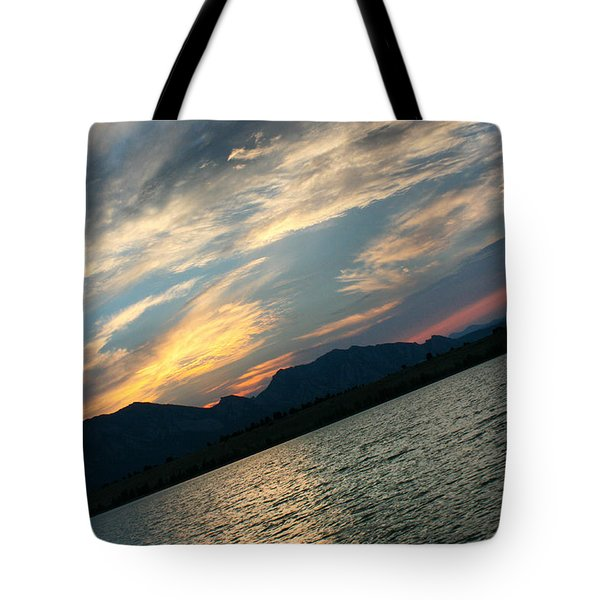 Sunset Silhouette Boulder Colorado Tote Bag