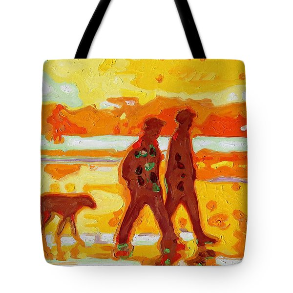 Sunset Silhouette Carmel Beach With Dog Tote Bag by Thomas Bertram POOLE
