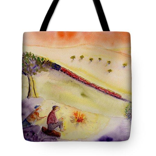 Sunset Train Tote Bag